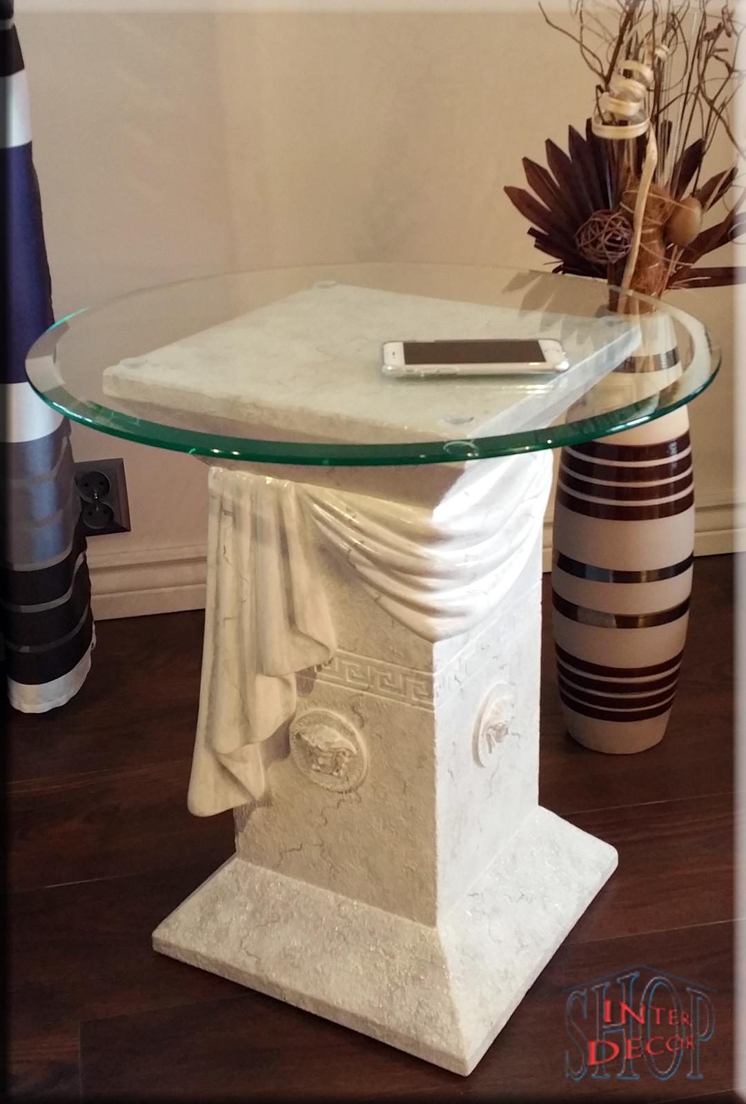 Beistelltisch medusa marmor optik kaffetisch tisch for Tisch rund marmor