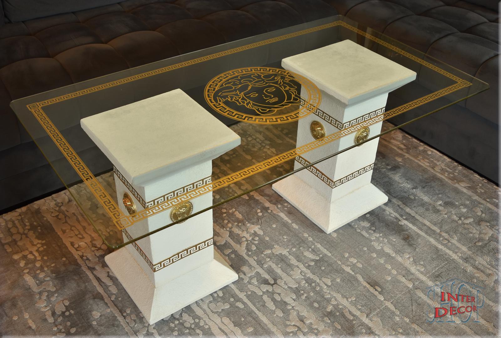 Designer Säulen Couchtisch Medusa Mäander Wohnzimmertisch