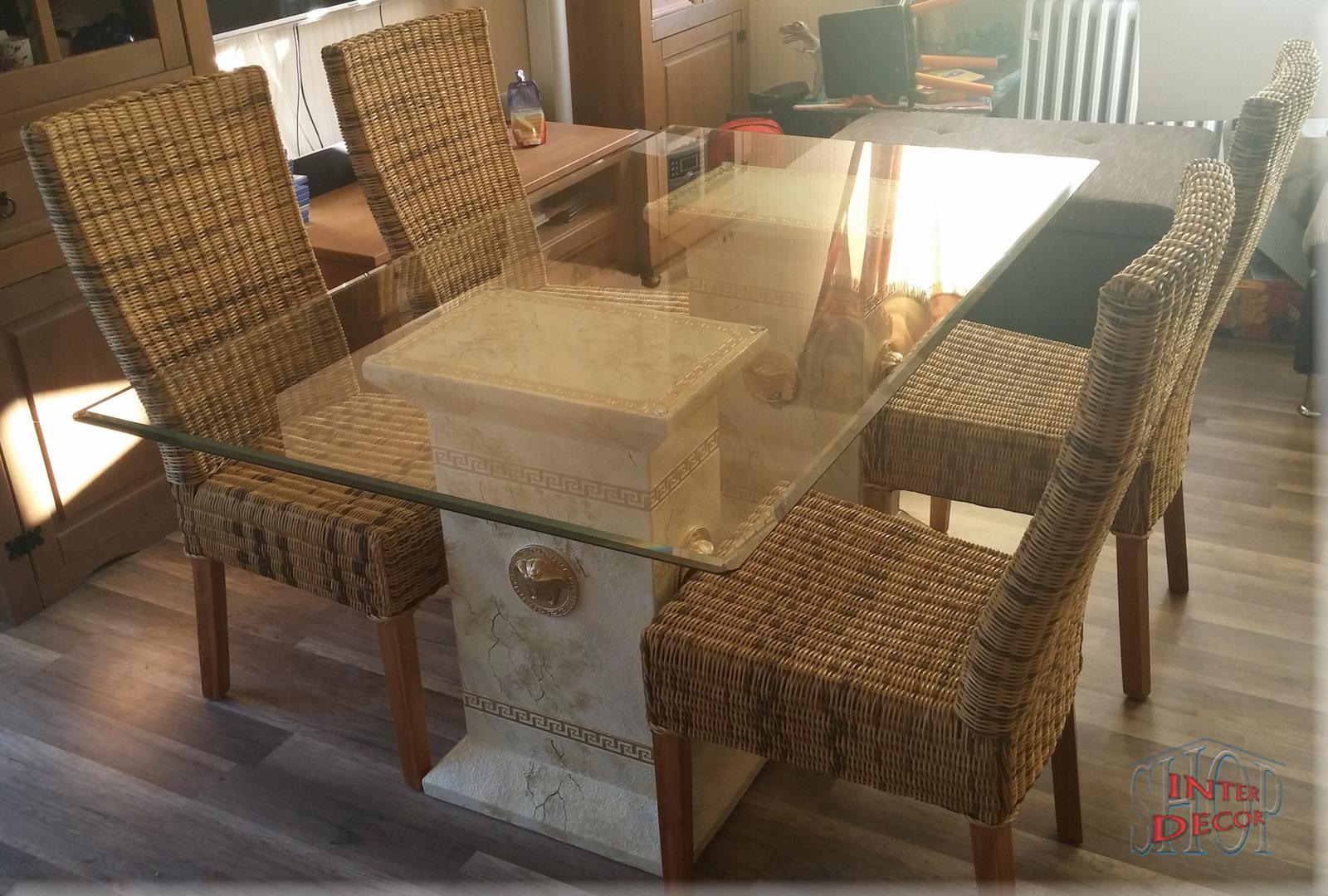 designer esstisch medusa b rom bel tisch glastisch m ander marmor optik 140 cm ebay. Black Bedroom Furniture Sets. Home Design Ideas