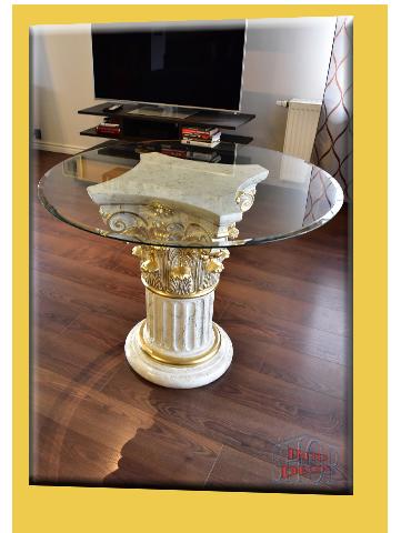 griechischer esstisch wohnzimmertisch tisch glastisch marmor optik s ule 100cm ebay. Black Bedroom Furniture Sets. Home Design Ideas