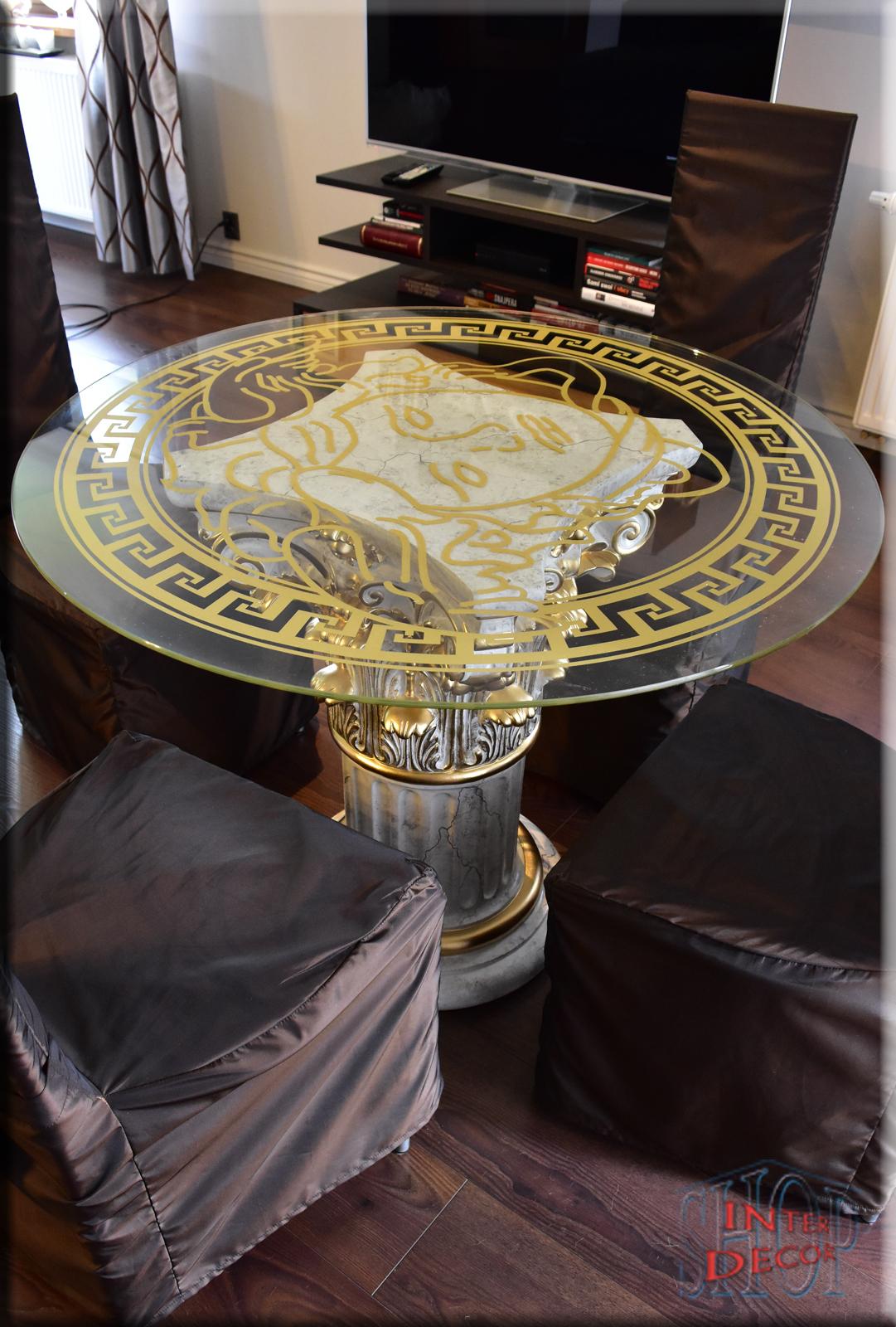 Griechischer Esstisch Wohnzimmertisch Tisch Glastisch Marmor Optik Säule Medusa